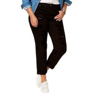 Rachel Roy Denim-Girlfriend Ripped Cropped Jeans.